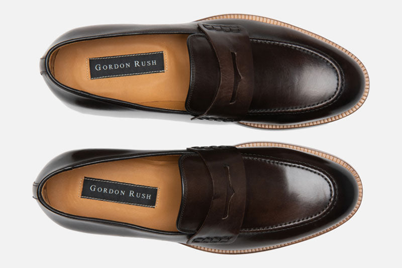 Gordon Rush Nicholas Penny Loafer Shoe Dark Brown Top View