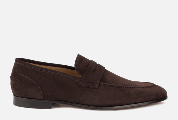 Otis | Dark Brown Suede Loafer | Brown Penny Loafer - Gordon Rush