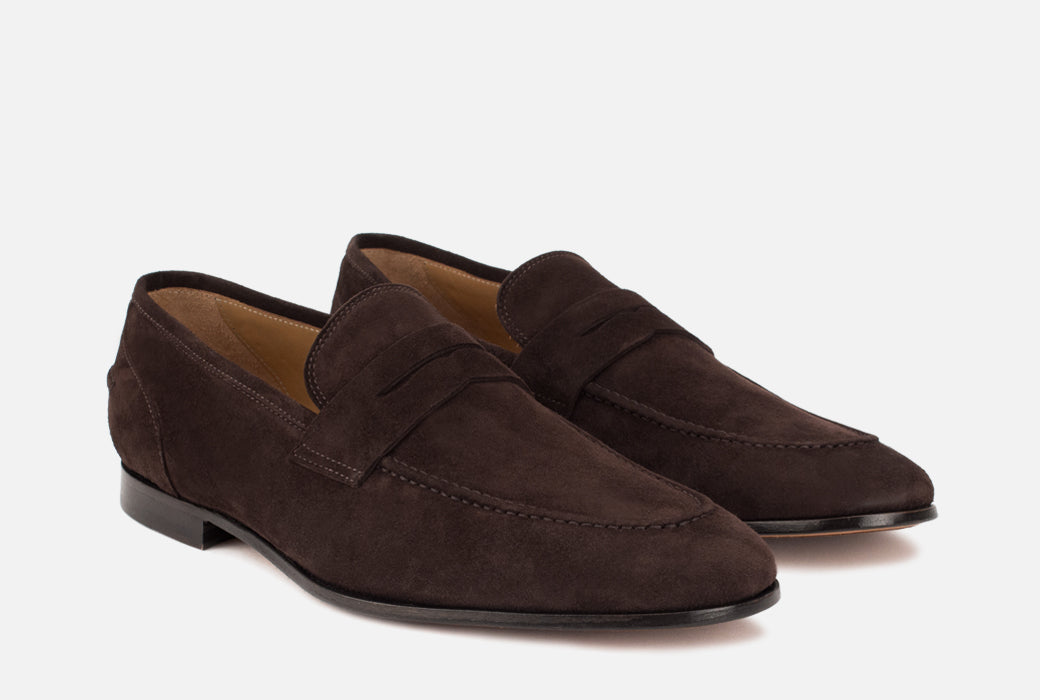 Gordon Rush Otis Penny Loafer Shoe Dark Brown Side View Pair