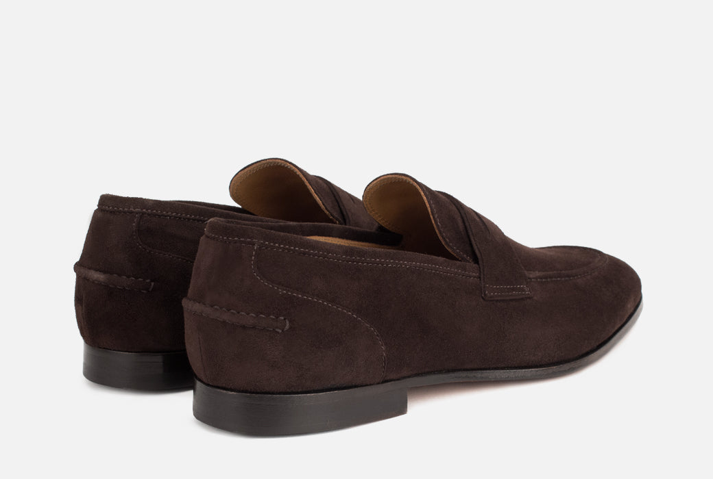 Dark Brown Suede Loafer | Brown Penny Loafer - Gordon Rush
