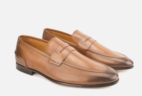 Mens Leather Penny Loafer in Light Brown