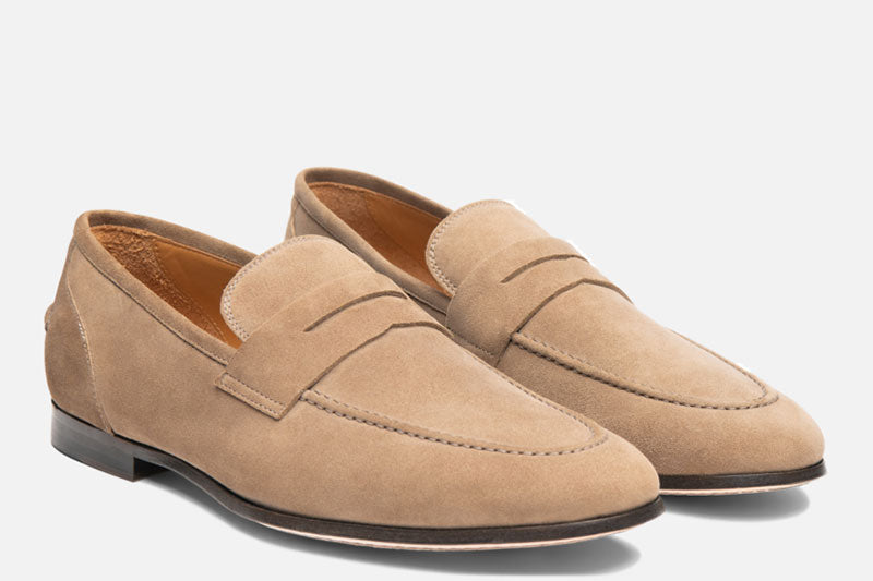 Gordon Rush Otis Penny Loafer Shoe Taupe Side View Pair