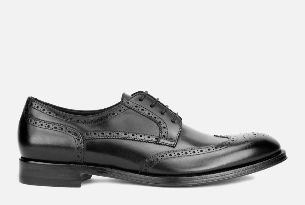 Mens Black Leather Wingtip