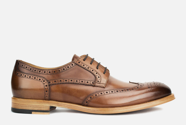 Gordon Rush Percy Wingtip Shoe Cognac Side View