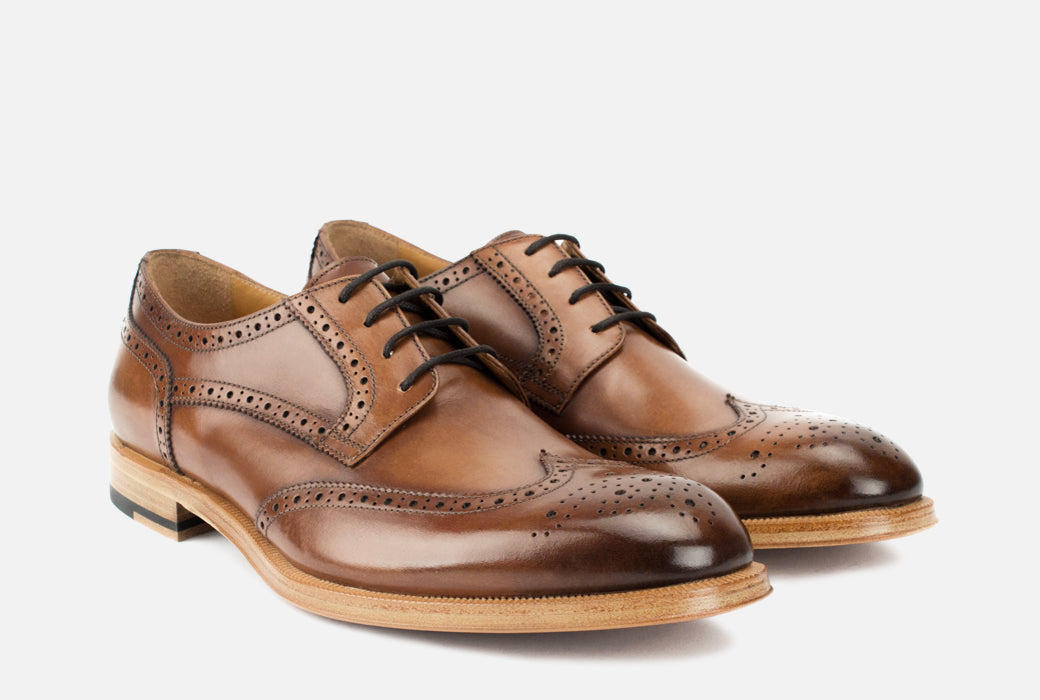 Gordon Rush Percy Wingtip Shoe Cognac Side View Pair