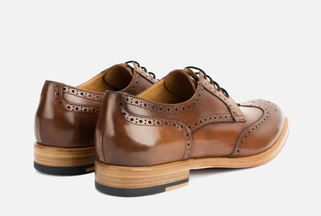 Gordon Rush Percy Wingtip Shoe Cognac Rear View Pair