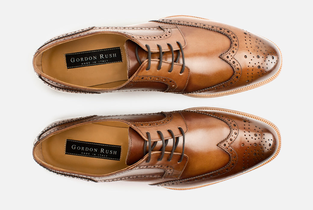 Gordon Rush Percy Wingtip Shoe Cognac Top View