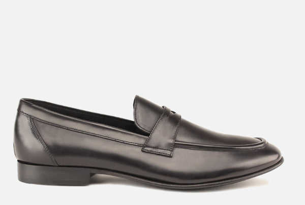 Gordon Rush Seth Penny Loafer Shoe Black Side View
