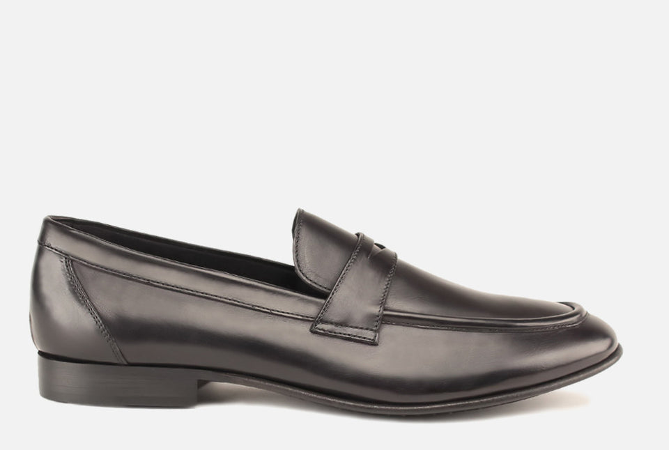 Seth Black Leather Penny Loafer