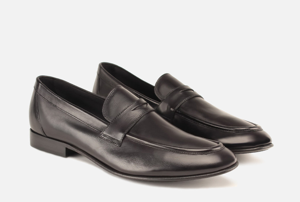 Gordon Rush Seth Penny Loafer Shoe Black Side View Pair