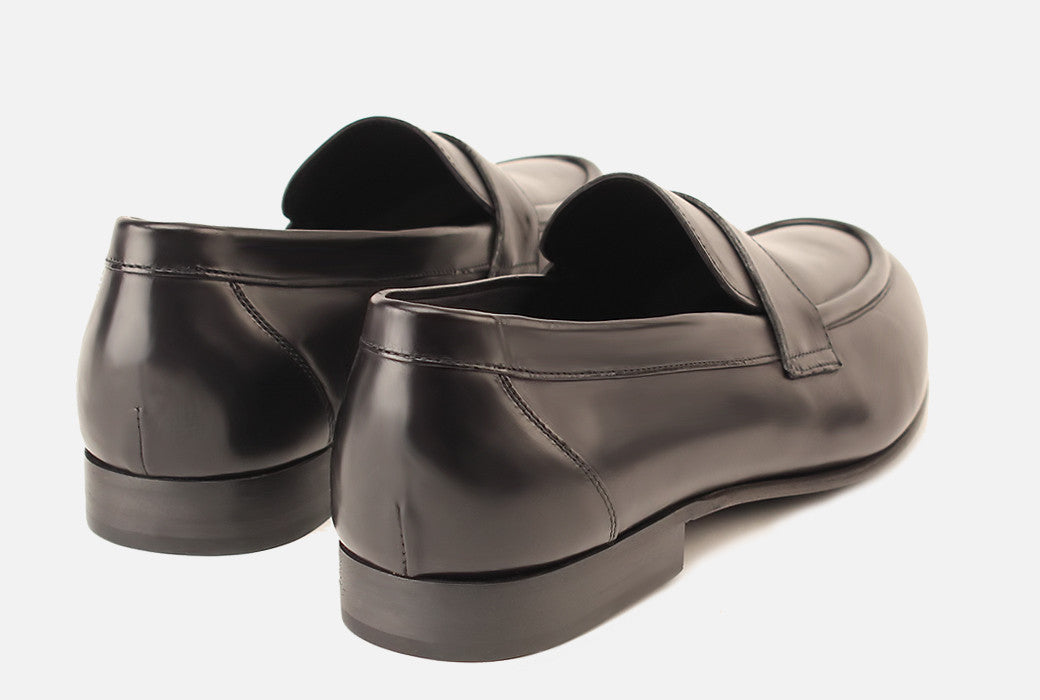 Gordon Rush Seth Penny Loafer Shoe Black Rear View Pair