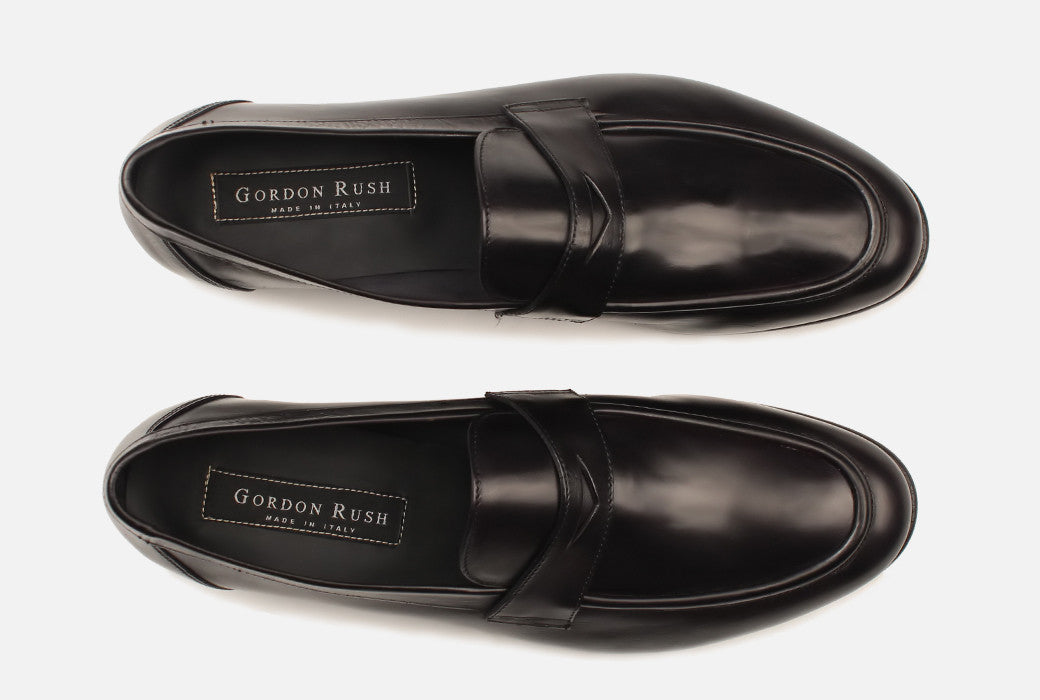 Gordon Rush Seth Penny Loafer Shoe Black Top View