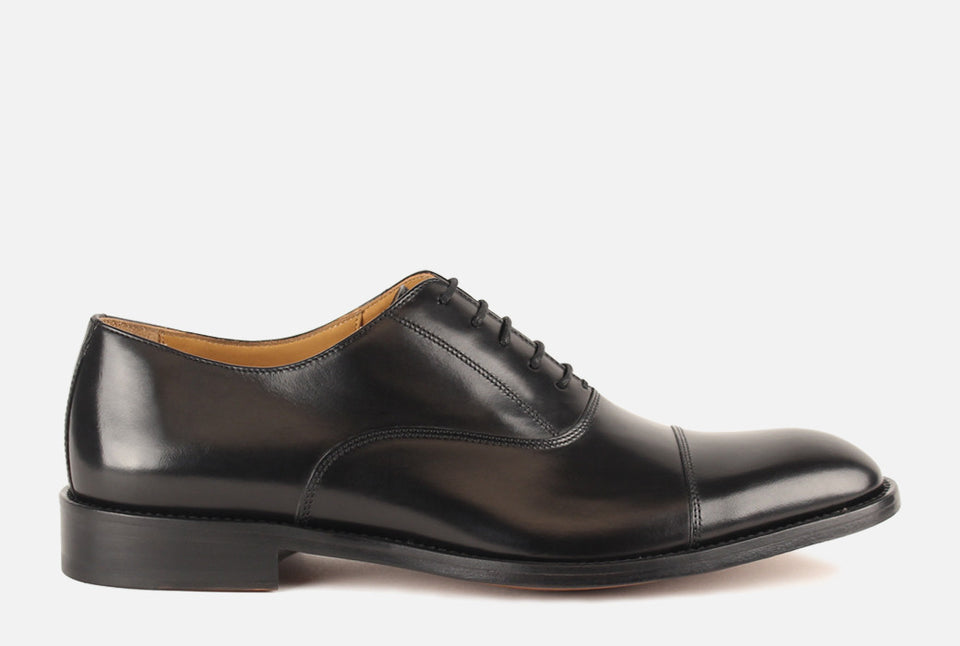 Nathan Black Leather Oxford