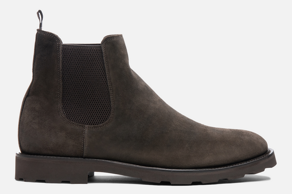 Gordon Rush Garrett Boot in Dark Taupe Suede Side View