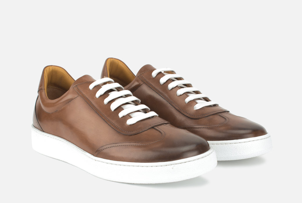 Gordon Rush Tristan Sneaker Shoe Cognac Leather Side View Pair