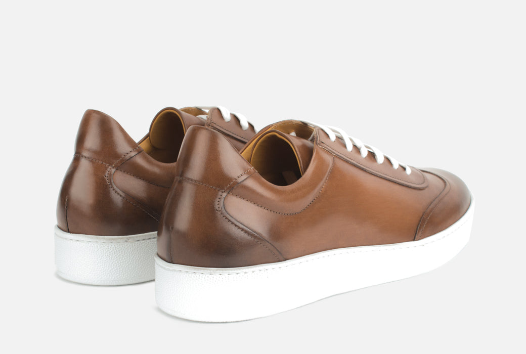 Gordon Rush Tristan Sneaker Shoe Cognac Leather Rear View Pair