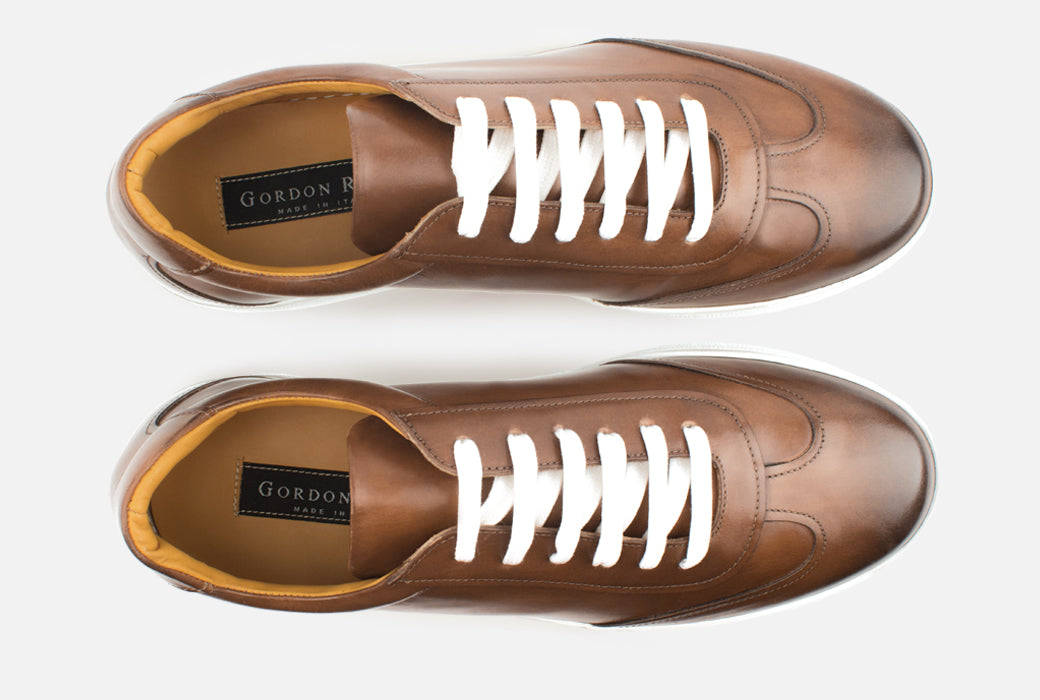 Gordon Rush Tristan Sneaker Shoe Cognac Leather Top View