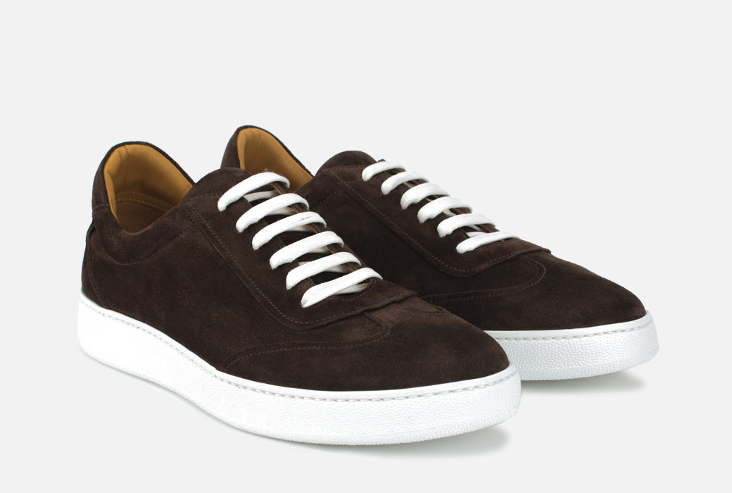Gordon Rush Tristan Sneaker Shoe Dark Brown Suede Side View Pair