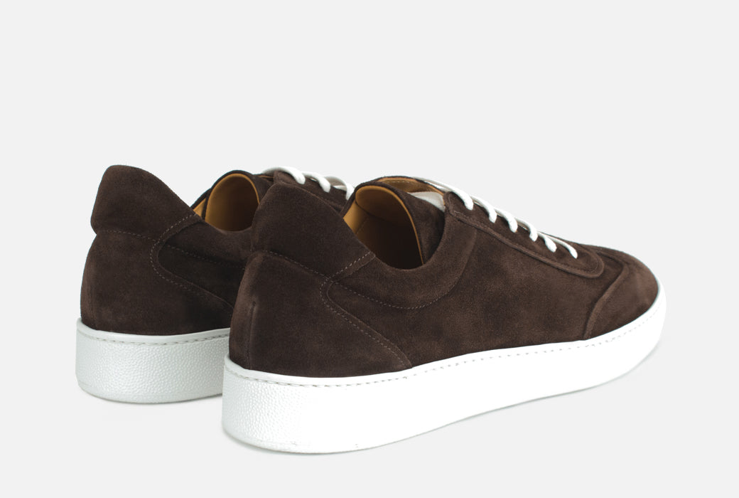 Gordon Rush Tristan Sneaker Shoe Dark Brown Suede Rear View Pair