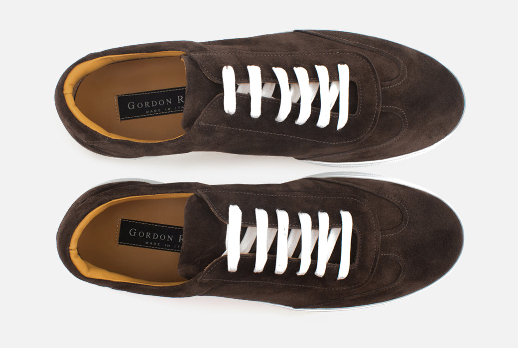 Gordon Rush Tristan Sneaker Shoe Dark Brown Suede Top View