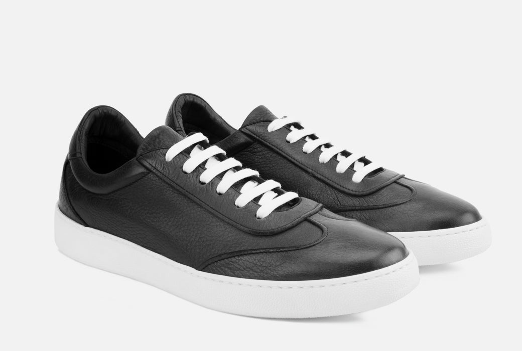 Gordon Rush Tristan Sneaker Shoe Black Leather Side View Pair