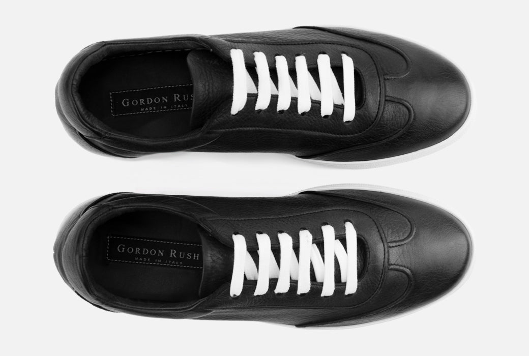 Gordon Rush Tristan Sneaker Shoe Black Leather Top View