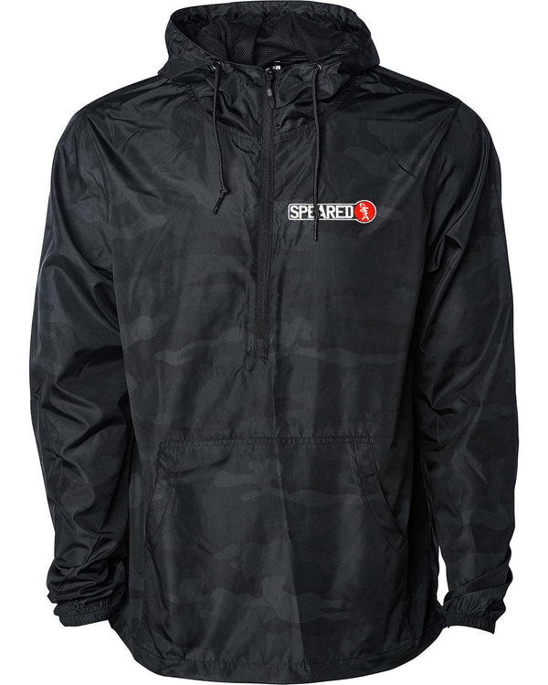 Speared Lightweight Anorak Pullover - Black Camo - Front
