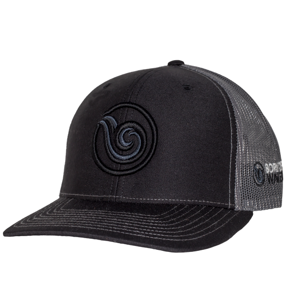 Signature Puff Logo Hat: Black/Charcoal/Black