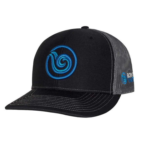 Signature Puff Logo Hat: Black/Charcoal/Cyan