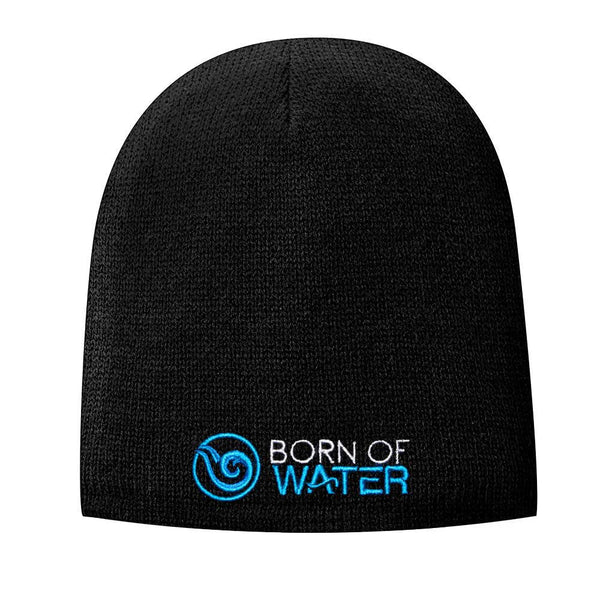 Fleece Lined Beanie with Signature Logo: Blue/Black
