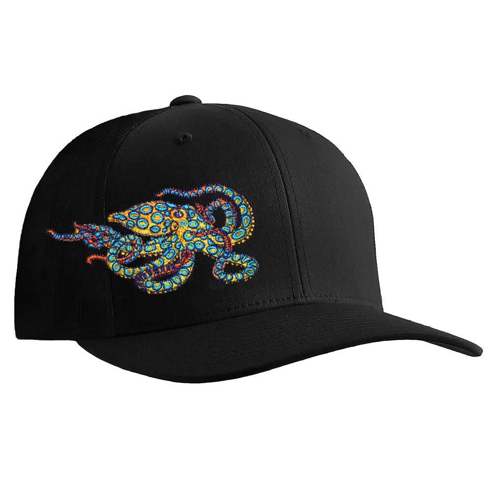 Blue Ring Octopus Flexfit Fitted Cap - Front