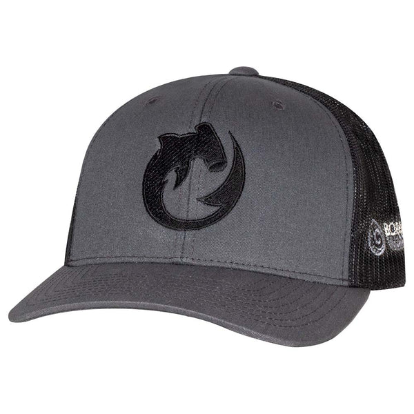 Circling Hammerhead Shark Trucker Hat - Charcoal/Black