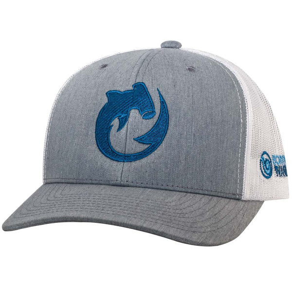 Circling Hammerhead Shark Trucker Hat - H. Gray/White