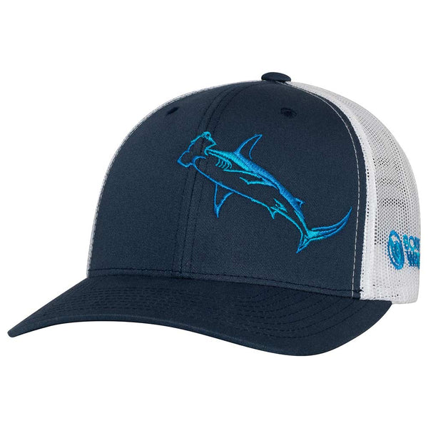 Hammerhead Shark Scuba Diving Trucker Hat - Front - Navy