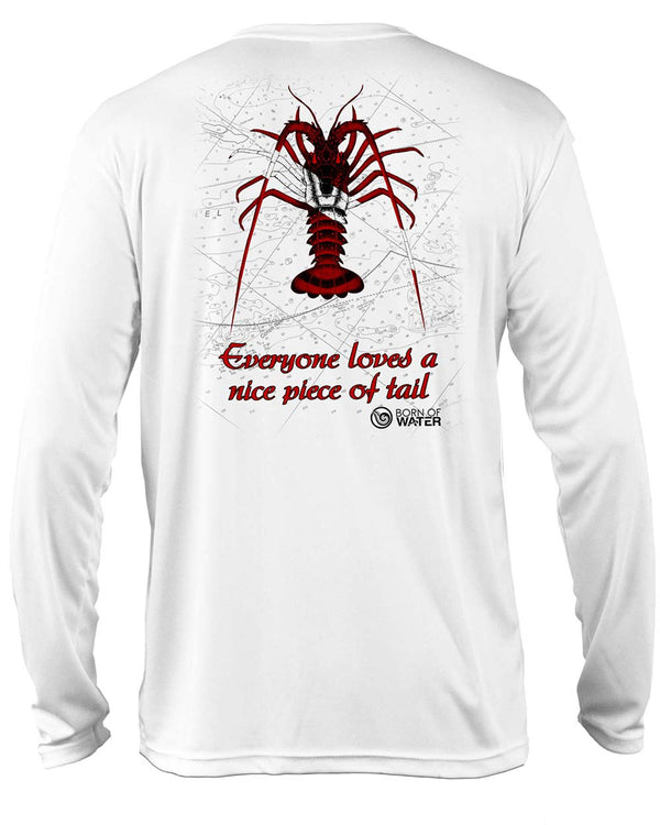 Scuba Diving UV UPF 50+ Performance Shirt: Lobster  White - Back