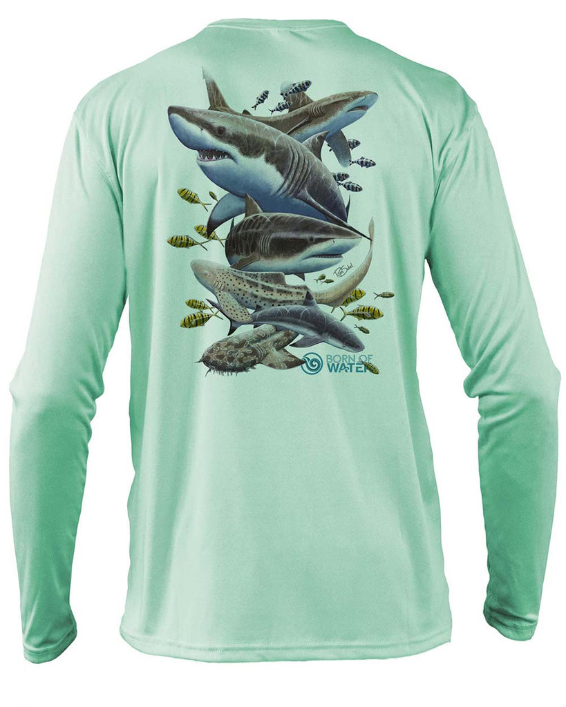 Shark Scuba Diving UV UPF 50+ Performance Shirt: Seagreen - Back
