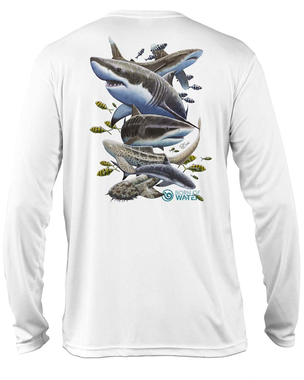 Shark Scuba Diving UV UPF 50+ Performance Shirt: White - Back
