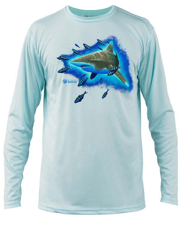 Shark Scuba Diving UV UPF 50+ Performance Shirt: Lt Blue - Front