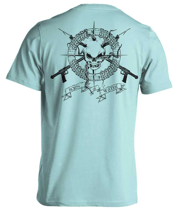 Spearfishing Shirt: Skull & Spearguns - Blue - Back