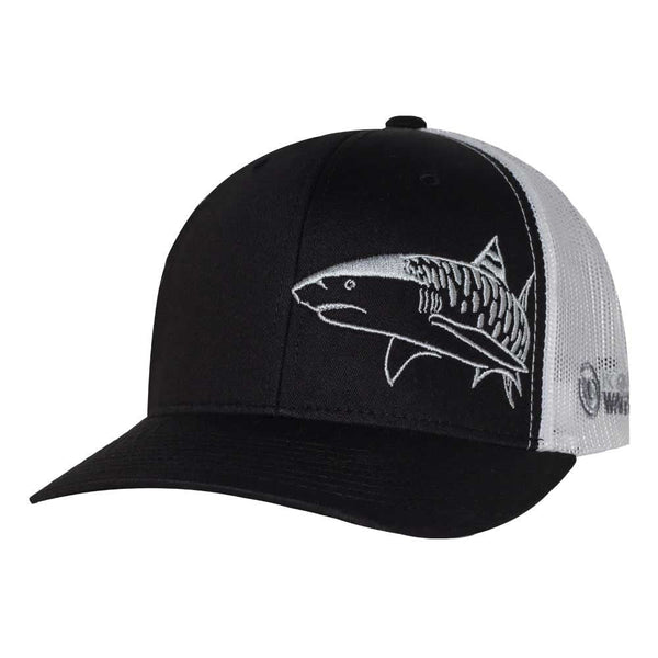 Tiger Shark Scuba Diving Trucker Hat - Black - Front