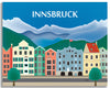 large Innsbruck canva prints, Alps skyline wrapped canvas art, retro Austrian travel canvas wrapped print, Karen Young Loose Petals European City canvas, European Gallery Wrapped Canvas