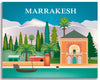 Marrakesh skyline canvas print, Morocco canvas, Marrakesh garden souvenir, Loose Petals city art Karen Young, Moroccan canvas gift