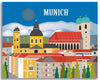 Munich skyline canvas print, Munich canvas,  large Munich artwork, Loose Petals city art by artist Karen Young, Munich housewarming gift, handmade Munich gift, handmade Munich Baby gift, print on demand canvas wrap