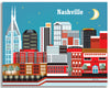 Nashville skyline canvas artwork, Nashville canvas art print, large Nashville canvas Art, handmade Nashville Souvenir, handcrafted Nashville Gift, Loose Petals city art by artist, Karen Young, print on demand art, Nashville office art, Nashville Wedding gift, Nashville baby art, Nashville housewarming gift, Large corporate Nashville Art, Large Nashville office art