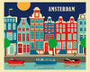 Amsterdam wall art,  skyline print,  Amsterdam city print by Loose Petals Karen Young artist