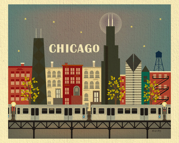 "Chicago skyline art prints, Chicago brown line, ""L"" line print"