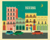 Havana retro travel poster, Loose Petals posters by Karen Young