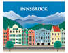 large Innsbruck posters, Alps skyline poster, retro Austrian travel posters, Karen Young Loose Petals European City posters
