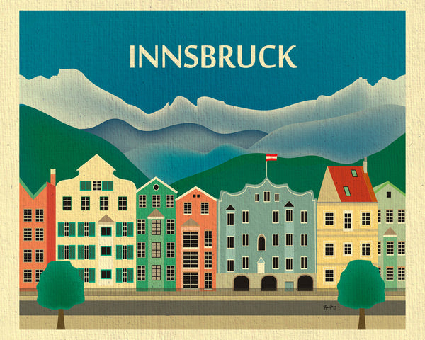 Innsbruck and Alps skyline print, small Austrian prints, Karen Young Loose Petals European City prints