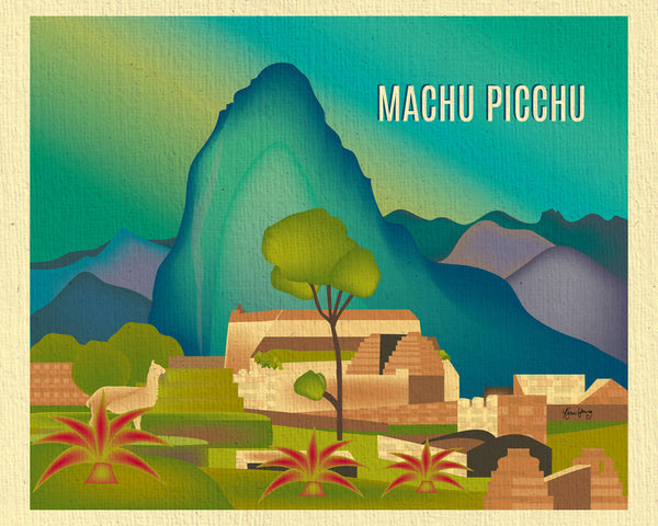 Machu Picchu skyline art print, poster print, handmade art gift from Loose Petals by Karen Young, Peru print, Travel Map